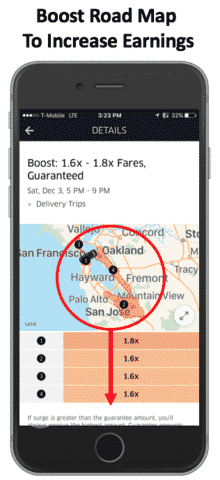 UberEATS driver Boost Guarantees extra income promotions and incentives sign up bonus
