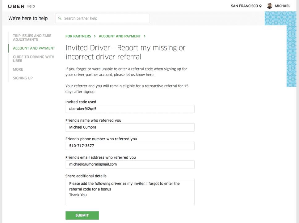 ber driver retroactive referral invite code-missed uber driver bonus